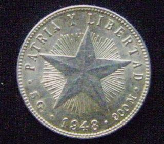 . 900 Silver 1948 Veinte 20 Centavos National Arms & Star Circ Km 13.  2 804 photo
