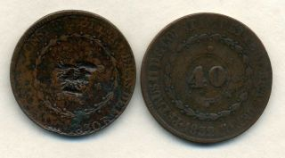 1830 And 1832 Brazil 40 Reis,  One Countermarked. photo