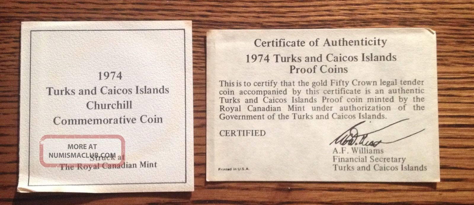 1974 Turks And Caicos 50 Crowns Gold Coin 12k Winston