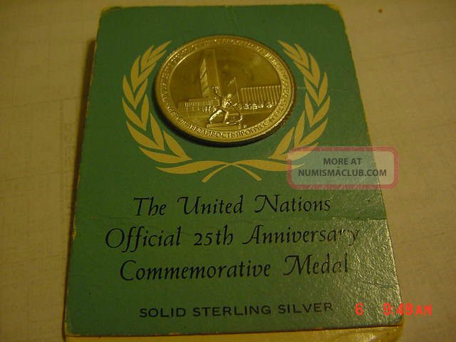 The United Nations Sterling Silver 25/th Anniversary Nedal Coins: World photo