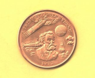 Jules Verne Token 1972 Spaceship,  Submarine And Hot Air Balloon photo