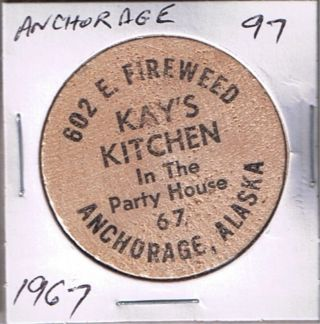 Alaska Wooden Token - Anchorage - Kay ' S Kitchen 1967 photo