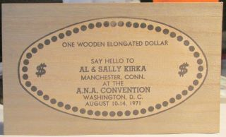 Sally Kirka Handout / 1 Elongated Wooden Dollar / Ana / Washington,  D.  C.  / 1971 photo