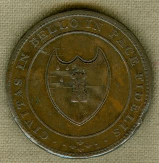1811 Worcester,  The House Of Industry,  Penny Token,  W - 1247,  Rr photo