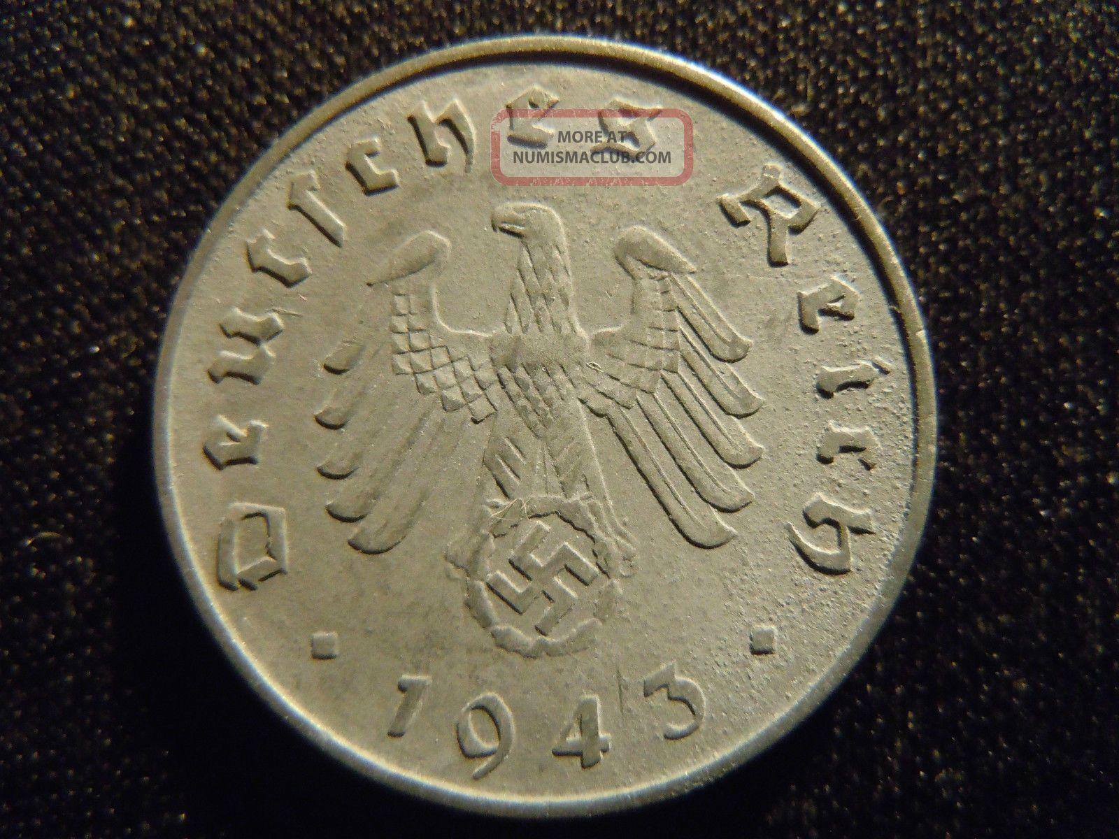 1943 A German Ww2 10 Reichspfennig Germany Nazi Coin Swastika World Ab