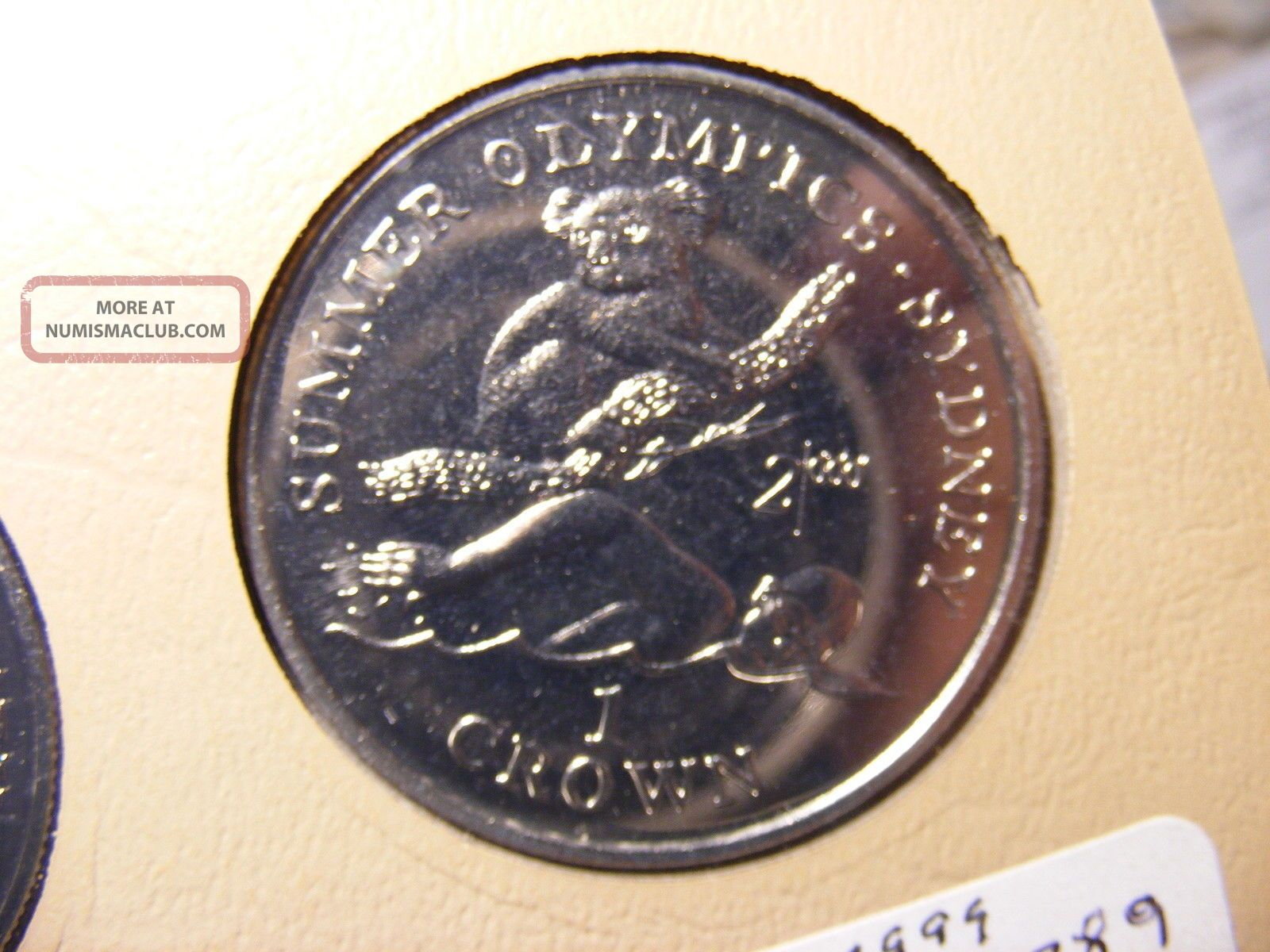 Gibraltar Crown,  1999,  Summer Olympics - Sydney,  Swimmer And Koala Bear,  Proof Europe photo