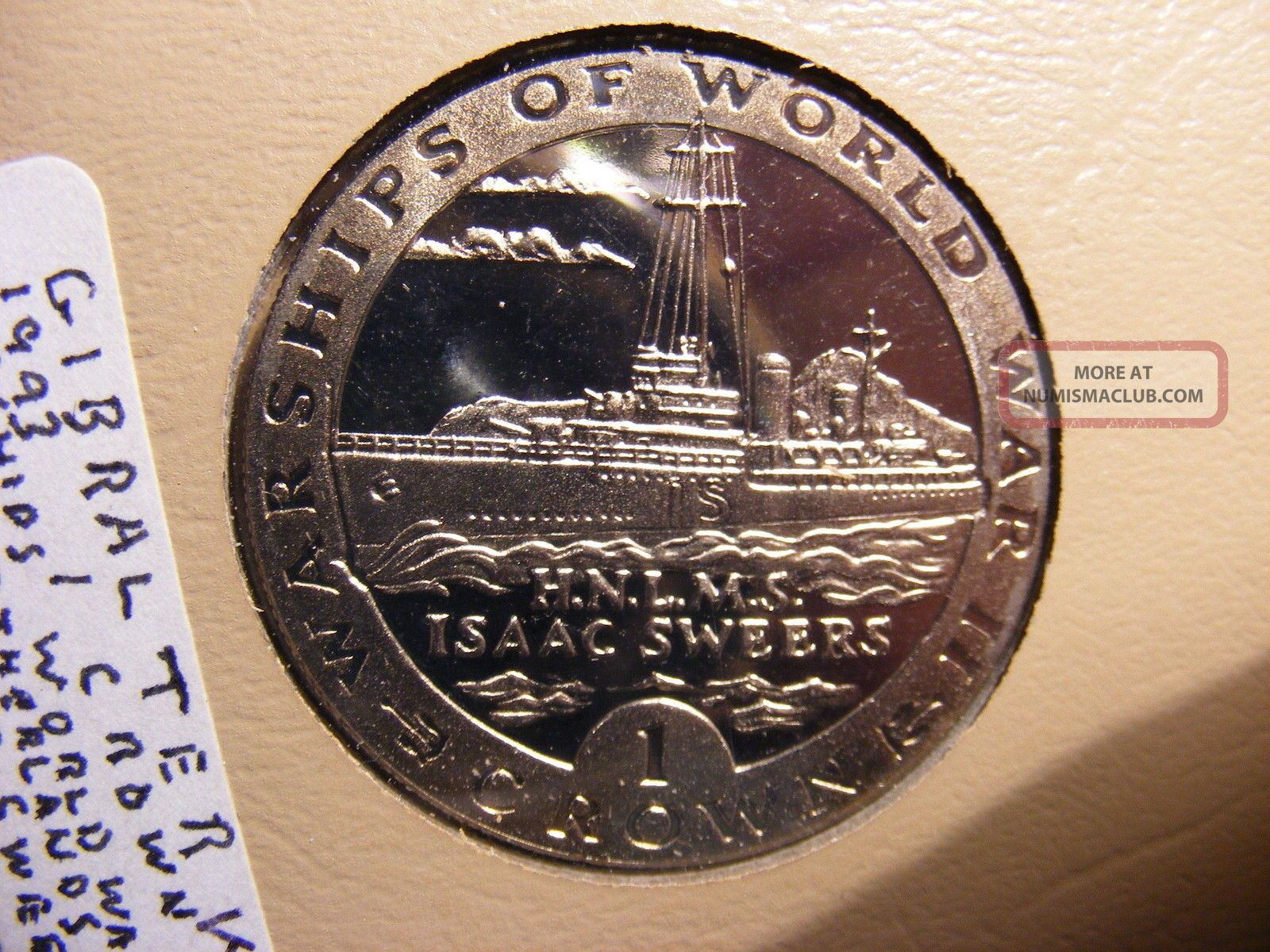 Gibraltar Crown,  1993,  Wwii Warships,  Hnlms Isaac Sweers,  C/n P/l Uncirculated Europe photo