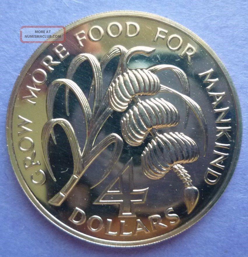 1970 Barbados 4 Dollars F A O Sugar Cane Amp Banana