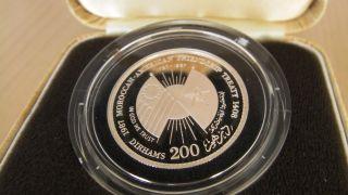 Morocco 200 Dirhams 1987 Silver American Friendship Treaty Coin photo