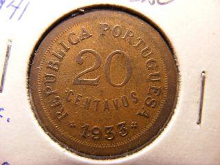 Guinea - Bissau 20 Centavos,  1933,  Higher Grade Coin photo