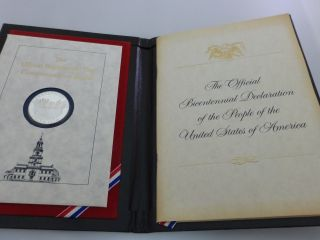The Official Bicentennial Day Commemorative Medal Sterling Silver Franklin photo