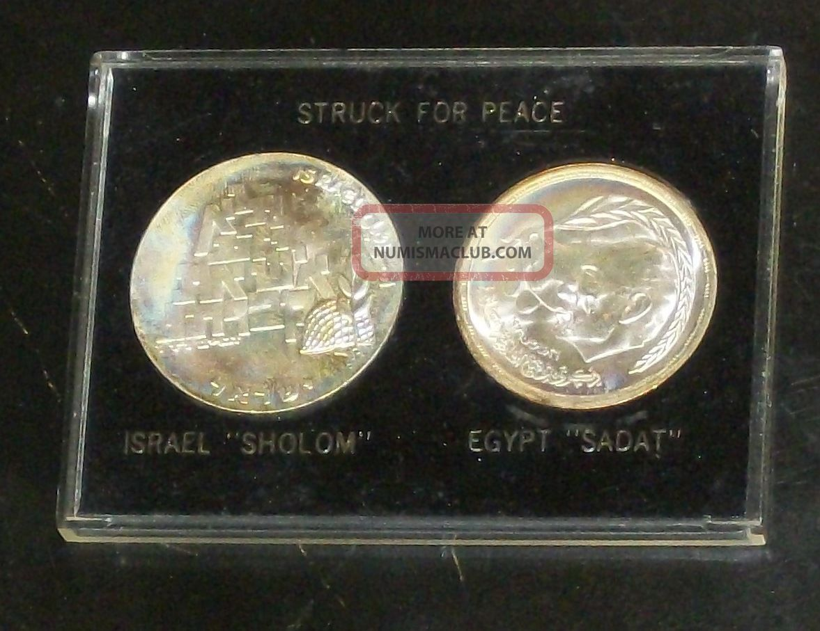 1969 Struck For Peace Israel Shalom Egypt Sadat Silver Lirot 1980 Pound Coin Ms, Middle East photo