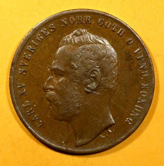 Sweden Bronze Carl Xv Adolf 1863 L.  A.  2 Ore Choice Xf Km 706 photo
