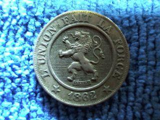 Belgium 10 Centimes,  1862,  Higher Grade photo