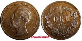 Sweden Oscar Ii Bronze 1873 1 Ore Variety