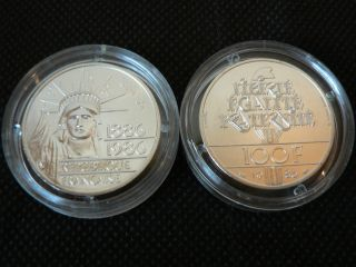 1986 France 100 Francs Piefort Statue Of Liberty Centennial.  900 Silver Coin photo