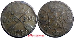 Sweden Frederick I 1748 2 Ore,  S.  M.  Avesta.  Low Mintage - 461,  000 Km 437 photo