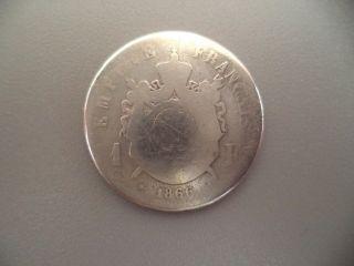France 1 Franc 1866 Silver Coin photo