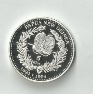 Papua Guinea 1994 Silver 5 Kina Proof Coin,  Bird Of Paradise Km 37 (p) photo