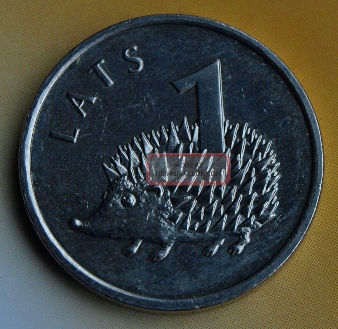Latvia 1 Lats Coin Hedgehog,  2012,  Lettland Europe photo