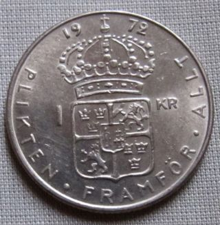 Sweden 1972u - 1 Krona - Gustaf Vi Adolf photo