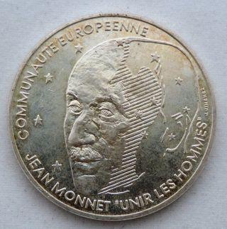 France 100 Francs 1992 Km 1120 Jean Monet 15gr Silver X - Fine To Aunc photo