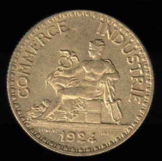 1924 France 2 Francs Chambres De Commerce Bu Coin photo