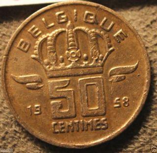 (wcl406) Rare Belgium 50 Centimes 1958 photo