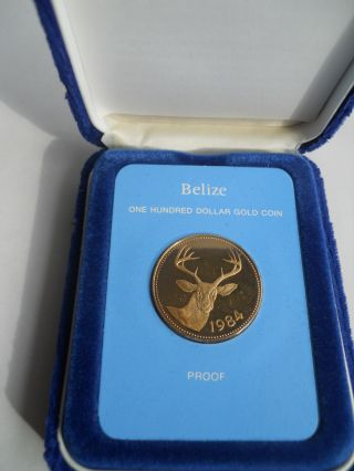 1984 $100 Belize Gold Proof Coin W/ Box photo