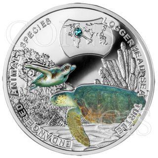 Niue 2014 1$ Endangered Animal Species - Loggerhead Sea Turtle Proof Ag Coin photo