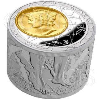 Niue 2013 50$ Fortuna Redux Mercury 6oz 1st Cylinder Shape Proof Silver Coin photo