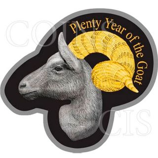 Niue 2015 1$ Irregular Goat Head Lunar Goat Proof Silver Coin photo
