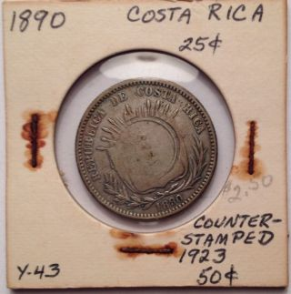 1890 Costa Rica 25 Cents Counter Stamped 1923 50 Cents photo