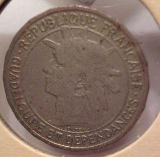 1903 Guadeloupe 1 Franc photo