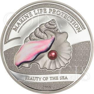 Palau 2014 5$ Beauty Of The Sea Pink Pearl Proof Silver Coin photo