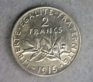 France 2 Francs 1915 About Uncirculated Silver Coin (stock 0065) photo