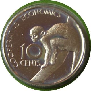 Elf Guyana 10 Cents 1976 Proof Squirrel Monkey photo