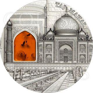 Palau 2014 10$ Mineral Art Taj Mahal 2oz Antique Finish Silver Coin Amber Insert photo