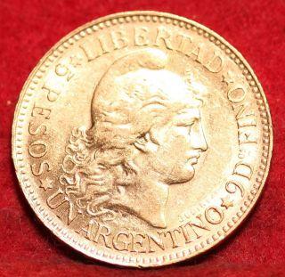 1887 Argentina Gold 5 Pesos.  2333 Agw S/h photo
