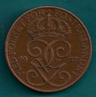 Sweden 5 Ore 1937 King Gustaf V Era Swedish Bronze Coin photo