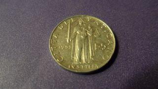 Vatican City 1953,  Five Lire.  Mintage Of 400,  000 photo