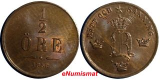 Sweden Oscar I Bronze 1858 1/2 Ore Unc 15.  8mm Km 686 photo