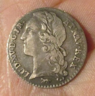 Silver Coin France Louis Xv 1/10 Ecu 1747 Vf photo