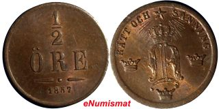 Sweden Oscar I Bronze 1857 1/2 Ore Unc 15.  8mm Km 686 photo