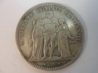1876 A France 5 Francs Silver Coin