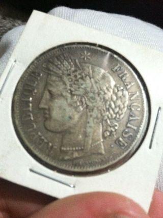 1849 1oz Silver 5 Franks Coin Ceres photo