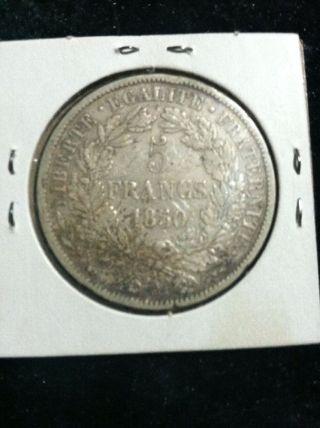 1850 1oz Silver - 5 Franks Coin Ceres photo