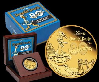 Donald Duck 80th Anniversary - Gold Limited Proof Coin 2014 Niue Disney photo
