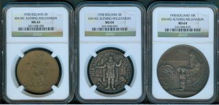 Iceland 1930 Althing Millennium 2,  5 & 10 Kronur Ngc Ms63 - 64 photo
