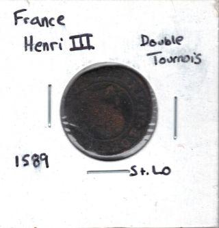 France Double Tournois 1589 St.  Lo photo